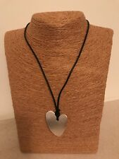 Silver Plated Love Heart Pendant Black Leather Thin Cord Choker Fashion Necklace
