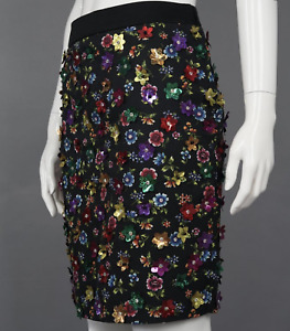 MOSCHINO COUTURE 3D Flower Embellished Black Skirt *NWT* - UK 10