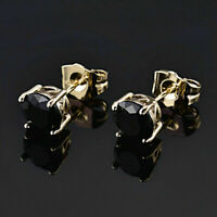2 Ct Round Cut Black Diamond Solid 14K Yellow Gold Solitaire Stud Earrings
