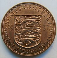 1937 Jersey George VI, 1/12 Shilling KM.18 Orange & Brown Grade UNCIRCULATED.