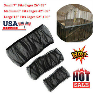 Pet Bird Cage Seed Catcher Tidy Guard Cover Shell Skirt Net Basket Stretchy LN