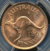Australia, 1964(m) One Penny, 1d, Elizabeth II - PCGS MS65RD (Gem-Unc)