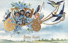 CARTE POSTALE FANTAISIE BONNE ANNEE CARROSSE PENSEES OISEAUX 1907