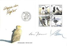 Sweden 1994 Scott 2097-2100 FDC WWF bird stamp eagle signed Slania & L. Jonsson