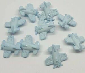 10 Blue Plane Buttons Shank 15mm ligne 24 baby children airplane aeroplane kids
