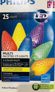 24 Ft Philips 25 Ct LED Multi Faceted C9 Lights 6 Color 25,000 Hours Green Wire