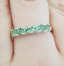 925 Sterling Silver Green Apatite Band Ring Size Q 1/2