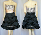 Cocktail Formal Evening Party Dress Black Beige Satin Lace Size 12 8 New