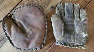 Antique Vintage Marathon & Wilson Buckle Back Calf Leather Baseball Gloves Mitts