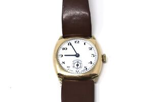 A Nice Vintage Gents Gold Plated Cushion Helvetia Manual Wind Wristwatch Running