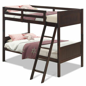 Wooden Twin Over Twin Bunk Beds Convertable 2 Individual Twin Beds Espresso