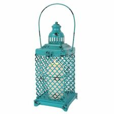 Stunning Rustic Vibrant Turquoise Open Metal Lantern Candle Holder