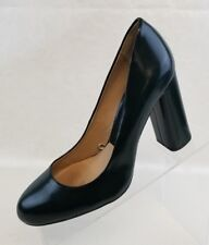 Zara Plain Toe Court Womens Block Heels Dark Green Slip On Shoes Size EU 39 US 8