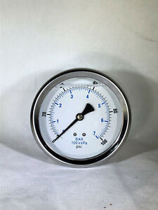 "5 PACK LIQUID FILLED PRESSURE GAUGE 0-100 PSI, 4"" FACE, 1/4"" BACK MOUNT"