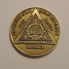 aa bronze alcoholics anonymous 28 year sobriety chip coin token medallion