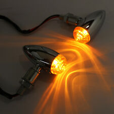 Chrome Motorcycle Turn Signal Light Mini Bullet Blinker Amber Indicator Lights F