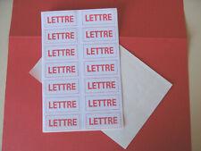 3 planches de 14 soit 42 étiquettes gommées anciennes marquées LETTRE