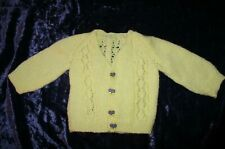 Hand Knitted Baby Girls Cardigan Butterfly Buttons (Lemon Colour)