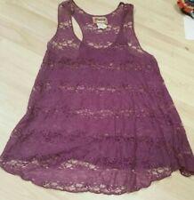 Mudd Junior Sheer Lace Tank Top, Size M purple