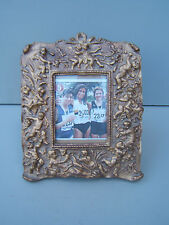"Gold gilt picture frame vintage 10"" x 8"" easel back cherub design no damage"