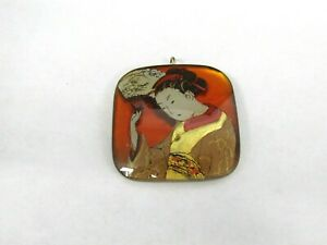 Signed gg Hand Painted 23K Gold Leaf Japanese Glass Pendant
