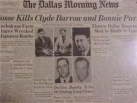 VINTAGE NEWSPAPER HEADLINE ~ROBBERS BONNIE PARKER & CLYDE BARROW SHOT DEAD 1934