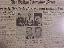 VINTAGE NEWSPAPER HEADLINE ~CRIME BONNIE PARKER & CLYDE BARROW GUN SHOT KILLED~
