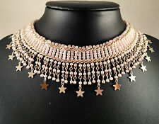 STUNNING HANDMADE POWDER PINK GLASS BEADS with STAR CHARMS NECKLACE CHOCKER