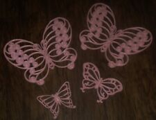 4 Vtg Home Interior Burwood Syroco Large Pink Butterfly Wall Plaque Set Lot 1629