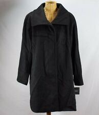 Ellen Tracy Nwt Black Wool Designer Long Coat Evening Trench Jacket Sz 16 W $238