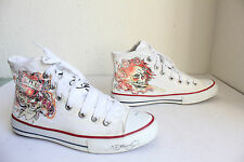 Don Ed Hardy Used High-Top Sneakers Turnschuhe Textil Weiß:Eu:40-Uk:6