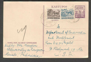 Indonesia 1950 postal card uprated Langowan to Dept Of Conservation Richmond VA