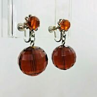 Vintage Dangle Earrings Amber Lucite Prong Set Faceted Screw Back Drop Earring