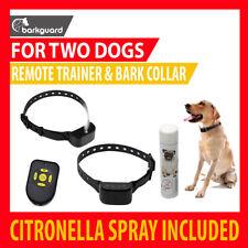 2 DOGS RECHARGEABLE CITRONELLA SPRAY BARK STOP PET COLLAR + REMOTE 80M RANGE
