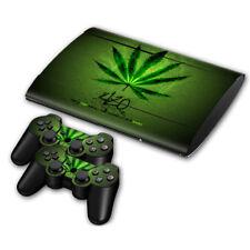 PLAYSTATION PS3 SLIM STICKER Marijuana Mary Jane Weed Ganja Console &2 PADS SET