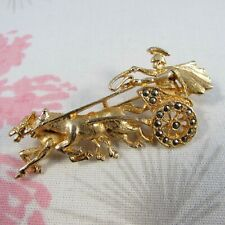 Brooch Pin with Marcasite Accents Vintage Shiny Goldtone Roman Chariot