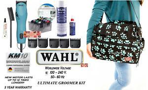 Wahl KM10 GROOMER KIT CLIPPER&5 BLADES& 8 pc METAL Attachment COMB SET,CASE,DVD+
