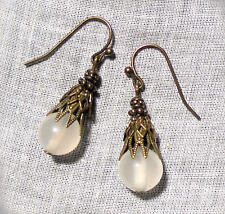BRASS FILIGREE WHITE OPAL MIST GLASS EARRINGS MEDIEVAL RENAISSANCE VICTORIAN