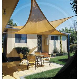 Tenda a vela ecru' triangolare ombreggiante mt 5 telo da sole ombra giardino