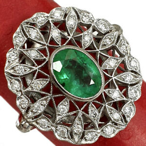 VINTAGE PLATINUM RING WITH NATURAL EMERALD AND DIAMONDS HAND MADE CIRCA 1940