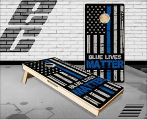 Blue Lives Matter Flag Cornhole Boards Bean Bag Toss Game