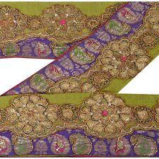 Sanskriti Vintage Sari Border Antique Hand Beaded Woven 1 YD Indian Trim Sewing