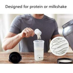Stainless Steel Whisk Ball Shaker Bottle Protein Fitness Water Drink Mixer