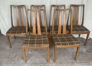 Set Of 6 Retro Teak Dining Chairs - Nathan Furniture - Mid Century