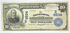 $10 1902 Mauch Chunk Pennsylvania PA National Currency Bank Note Bill  #6534