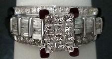 10k White Gold Princess Cut Halo Style Diamonds Engagement Promise Ring