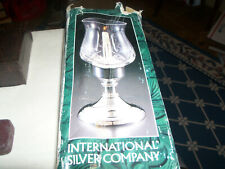 INTERNATIONAL SILVER CO LARGE HURRICANE GLASS & SILVERPLATE BASE CANDLE HOLDER