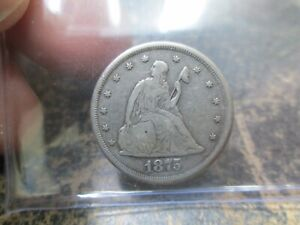 1875-CC US SILVER SEATED LIBERTY 20 CENT COIN IN FINE CONDITION