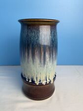 Bill Campbell  Drip Glaze Vase Studio Art Pottery White Blue Brown, Green