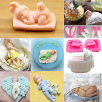 3D Sleeping Baby Bed Silicone Fondant Cake Mould Chocolate Jelly Boy Mold Decor